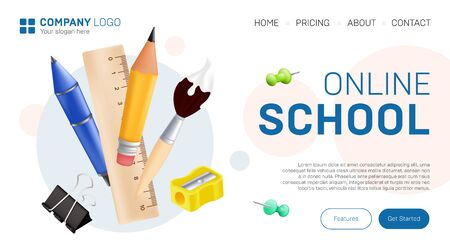 Online school landing page graphic design. Vector illustration with realistic stationary - pen, pencil, paintbrush, ruler, pushpin, sharpener and paperclip for distance education website template Ilustracja