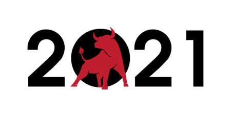2021 numbers with a bull silhouette, symbol of the year in the Chinese zodiac calendar. Vector illustration of a standing horned ox or an angus isolated on a white background 向量圖像