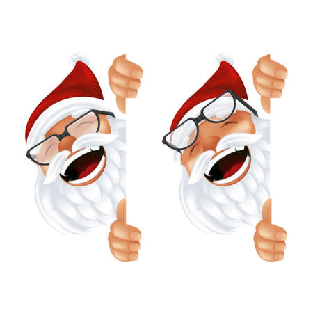 Funny cartoon Santa Claus in a red hat and glasses. Laughing and smiling Christmas character in traditional costume peeking from behind the vertical corner or a sign isolated on a white background