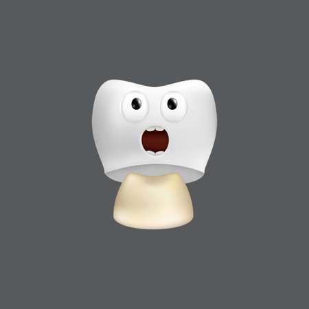 Scared tooth with crown installation. Cute character with facial expression. Funny icon for children's design. 3d realistic vector illustration of a dental ceramic model isolated on a gray background
