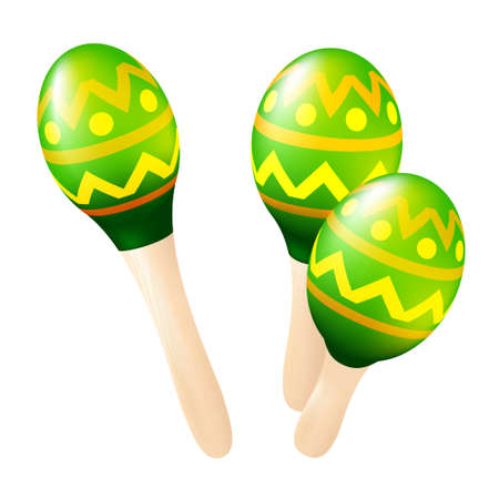Colorful wooden maracas set. Mexican or Spanish traditional instruments isolated on a white background. Vector illustration Vector Illustration