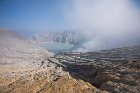 The sulfuric lake of Kawah Ijen vulcano in East Java, Indonesia