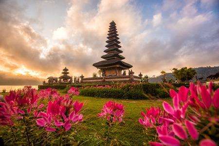 Pura Ulun Danu Bratan Morning sunrise, Hindu temple in Bratan lake  Bali, Indonesia