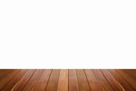 wooden floor with isolated white copy space for background