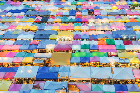 Train market secondhand market in Bangkok , Thailand.photo of night market high view from building colorful tent retail shop and lighting.1 oct 2016 bangkok thailand Banque d'images