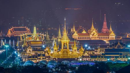 Aerial view of Bangkok cityscape between The Royal Cremation Ceremony for King Bhumibol Adulyadejaadej with Wat Phra Si Rattana Mahathat,Grand palace,Wat Arun at Sanam Luang,Bangkok,Thailand.November 2017