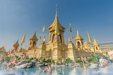 The Royal Crematorium Replica for King Bhumibol Adulyadej (Pra May Ru Maat) at Sanam Luang for royal funeral Cremation Ceremony Bangkok Thailand. Stock Photo