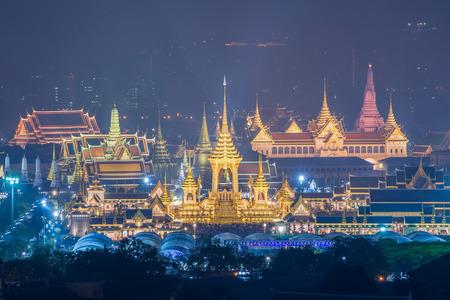 The Royal Crematorium Replica for King Bhumibol Adulyadej (Pra May Ru Maat) at Sanam Luang for royal funeral Cremation Ceremony Bangkok Thailand. 版權商用圖片