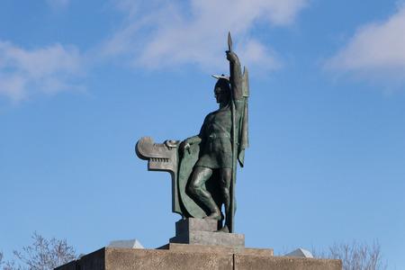 Arnarholl Arnarholstradir Statue of Ingolfur Arnarson,Icelands first settler around 870 AD.Reykjavik, Iceland. Stock Photo