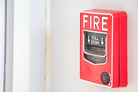 Fire alarm system. fire safety box on the wall. alarm equipment detector in building