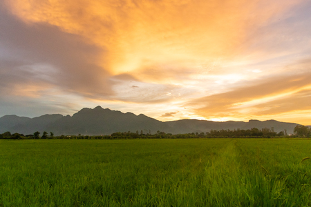 Sunset sky on field.Beautiful sunset sky with dramatic light over mountain.rural landscape background.