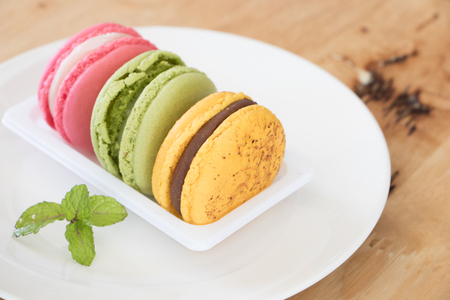 macaron or macaroon colorful cookies.French macaron is a sweet dessert made with egg white, icing sugar, granulated sugar, almond powder or ground almond