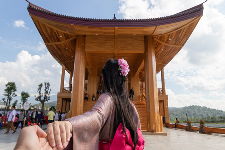 Hinoki land Landmark at Chaiprakarn, Chiang Mai, Thailand Hinoki land is a new  japanese style castle for travel in Chiang Mai province. Stockfoto