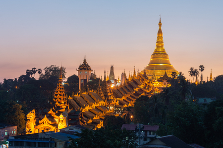 The Shwedagon Pagoda one of the most famous pagodas in the world the main attraction of Yangon. Myanmar's capital city. Shwedagon referred in Myanmar as The crown of Burma Éditoriale