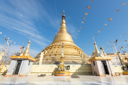 The Botataung Pagoda located in downtown Yangon, Myanmar..Botataung Pagoda was a famous Landmark in Yangon  with Buddha's sacred hair relic in the main paogda Redactioneel