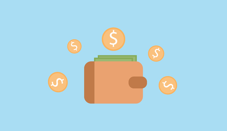 wallet money banknote with dollar coin vector.Wallet icon vector Money Icon vector