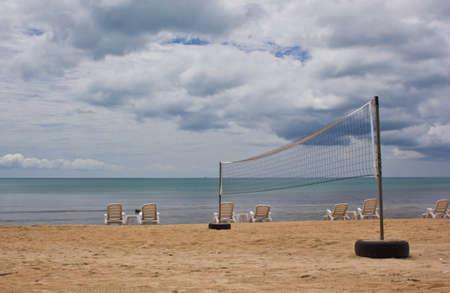 Volleyball Net on Beach photo