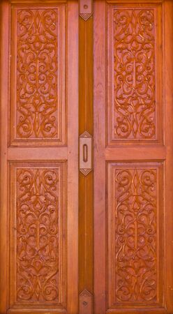 Thai style carving wooden door