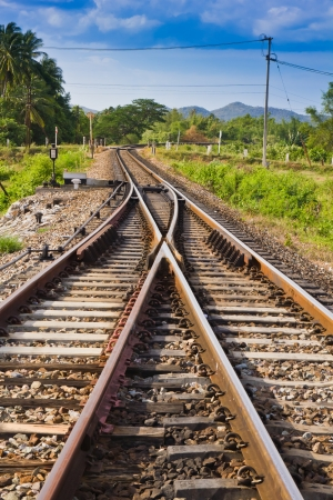curve railway track with mountain background