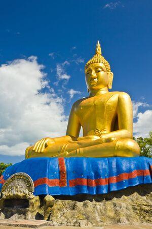 Big Golden Buddha statue at tham khao tao temple,thailand photo
