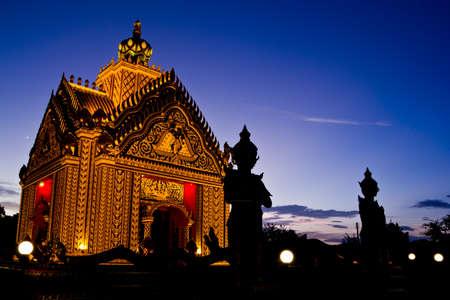 silhouette of church at Pak Num Pran,thailand photo