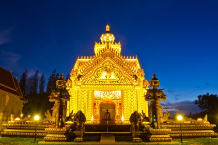 twilight of wat sumanavas temple pak num pran,thailand photo