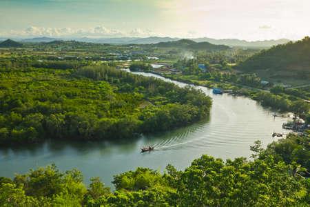 viewpoint of pranburi river on mountain background,thailand Stock Photo