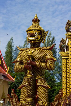 colorful legend giant statue in the temple photo