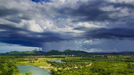 Landscape of pranburi river with dark grey clouds Stock Photo - 16607929