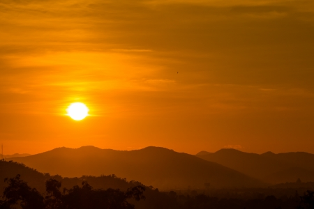 Sunset on mountain background, Thailand Stock Photo