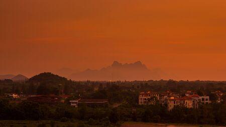 Twilight landscape of mountain with fog Stock Photo - 16798283