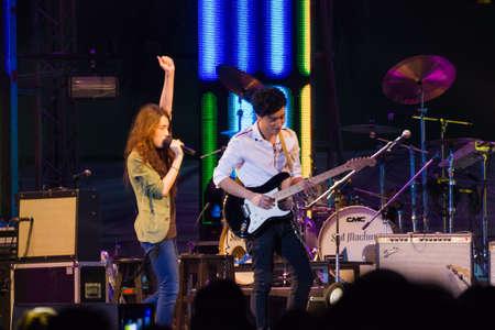 singular: HUA HIN, THAILAND - DECEMBER 31 :  Lead singer of Singular band performs live concert during Hua Hin Music Countdown 2013 on December 31, 2012 in Hua Hin, Prachuapkhirikhan, Thailand