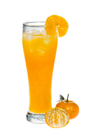 Orange juice glass and orange fruit on white background photo