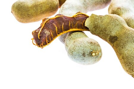 Ripe tamarind fruit on white background photo
