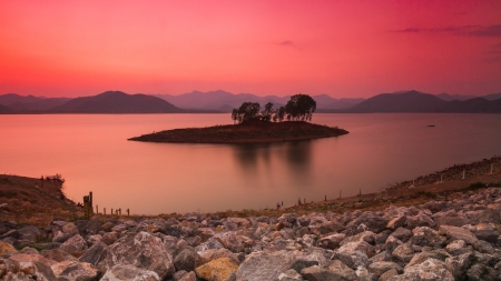 Colorful twilight dam and mountain background Stock Photo - 19019626
