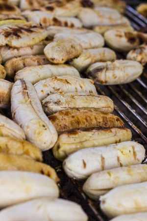 Grilled bananas on the steel grill photo