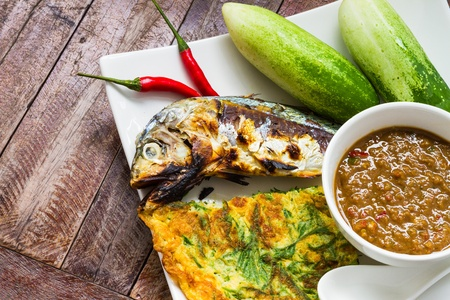 Spicy chili paste and grill mackerel fish, Thai food photo