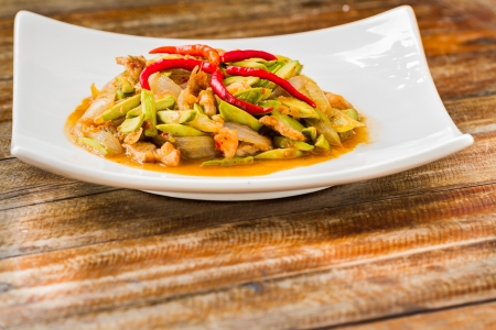 Fried Parkia with shrimp and sauce, thai food photo