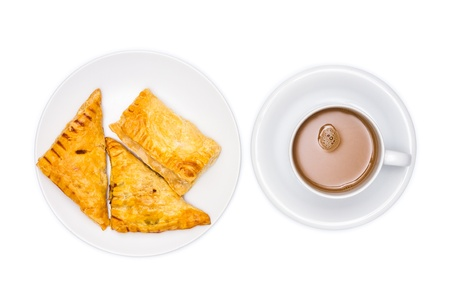 Assorted flavour pie with coffee on white background photo