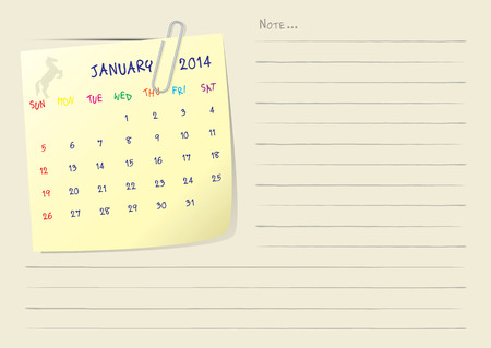 Calendar paper note of month on january 2014