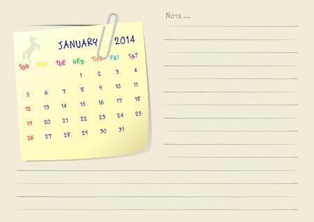 Kalender Papier zur Kenntnis Monat Januar 2014 Vektorgrafik