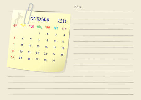 Calendar paper note of month on october 2014 Stock Vector - 22777818