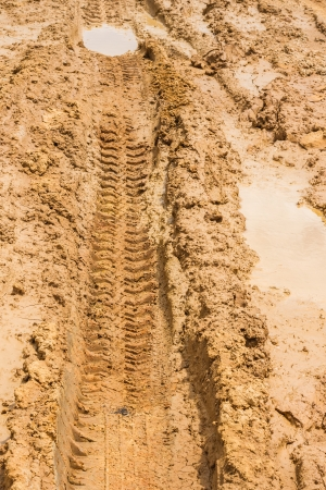 wheel tracks on rough road