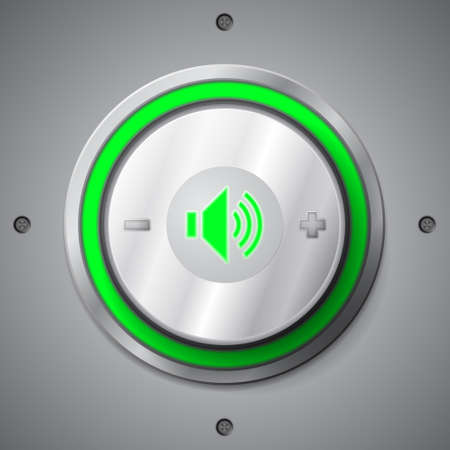 sound off: Green color light volume control button Illustration