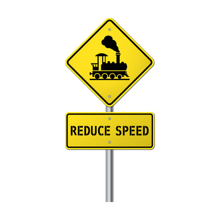 Warning sign traffic railway crossing with gate please reduce speed Vector