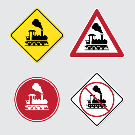 Warning sign traffic railway crossing with gate Vector