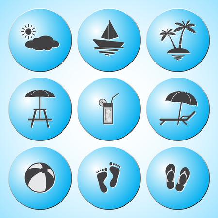footprint sand: Summer icons set  Vector Illustration
