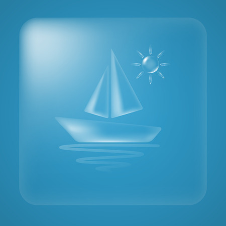 Transparent sun and boat summer icon. Vector