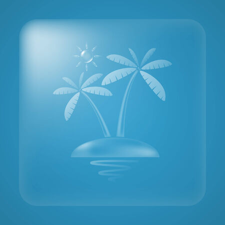 coconut tree: Transparent sun and coconut tree summer icon.