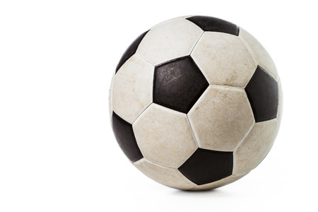 dirty football: Dirty soccer ball on white background